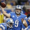 Detroit Lions quarterback Matthew Stafford throws during the first quarter of an NFL football game against the Atlanta Falcons at Ford Field in Detroit, Saturday, Dec. 22, 2012. (AP Photo/Carlos Osorio)