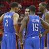 Oklahoma City\'s Thabo Sefolosha (2), Reggie Jackson (15), Kevin Durant (35). Serge Ibaka (9), second from left, and Kevin Martin (23), center, talk during a timeout in Game 6 in the first round of the NBA playoffs between the Oklahoma City Thunder and the Houston Rockets at the Toyota Center in Houston, Texas, Friday, May 3, 2013. Oklahoma City won 103-94. Photo by Bryan Terry, The Oklahoman