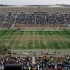 Photo - The field at Notre Dame Stadium during half time in Notre Dame's spring NCAA collegefootball game Saturday April 12, 2014 in South Bend, Ind. The Blue Gold game marks the end of spring football practice. Artificial turf will be installed at the stadium in time for the start of the upcoming football season, athletic director Jack Swarbrick said. (AP Photo/Joe Raymond)