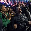 People celebrate at Rockefeller Center in New York, Tuesday, Nov. 6, 2012, after President Barack Obama televised news reports projected him to win a second term. (AP Photo/Craig Ruttle)