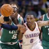 NBA BASKETBALL/OKLAHOMA CITY THUNDER/BOSTON CELTICS Russell Westbrook steals the ball from Boston\'s Rajon Rondo during the Thunder - Celtics game Sunday, November 7, 2010 at the Oklahoma City Arena. Photo by Hugh Scott, The Oklahoman ORG XMIT: KOD