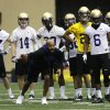 Photo - Washington defensive backs coach Jimmy Lake takes his players through a drill on the first day of spring NCAA college football practice, Tuesday, March 4, 2014 in Seattle. (AP Photo/Ted S. Warren)