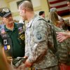 IRAQ WAR / MILITARY / RETURN / HOMECOMING: J.C. Humphries, a Vietnam veteran, welcomes soldiers home during a ceremony for soldiers returning from Iraq at Fort Sill on Tuesday, June 8, 2010. Members of the Vietnam Veterans of America Chapter 751, have been to every deployment and return since Sept. 11, 2001. Photo by John Clanton, The Oklahoman ORG XMIT: KOD