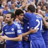 Photo - Chelsea's Diego Costa, second left, celebrates his goal against Leicester City with teammates during their English Premier League soccer match at Stamford Bridge, London, Saturday, Aug. 23, 2014. (AP Photo/Sang Tan)