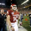 Sam Bradford leaves the field after OU\'s 24-14 loss to Florida in the BCS National Championship Thursday. Photo by Bryan Terry