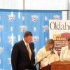 CLAY BENNETT HONORED....Representatives from Oklahoma Today magazine talked about honoree Clay Bennett. (Photo by Helen Ford Wallace).