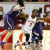 Oklahoma\'s Aaryn Ellenberg (3) tries to keep the ball from going out of bounds near Kansas State\'s Leticia Romero (10) in the first half during an NCAA women\'s basketball game between the Oklahoma Sooners (OU) and the Kansas State Wildcats at Lloyd Noble Center in Norman, Okla., Saturday, Jan. 11, 2014. Photo by Nate Billings, The Oklahoman
