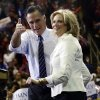 Photo -   Republican presidential candidate and former Massachusetts Gov. Mitt Romney and wife Ann Romney stand on stage at a campaign rally at The Patriot Center at George Mason University in Fairfax, Va., Monday, Nov. 5, 2012. (AP Photo/Charles Dharapak)