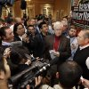 Agent Scott Boras, right, talks with reporters at the baseball winter meetings on Wednesday, Dec. 5, 2012, in Nashville, Tenn. (AP Photo/Mark Humphrey)