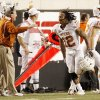 Texas\' Earl Thomas (12) runs the sideline celebrating his interception for a touchdown during the college football game between the Oklahoma State University Cowboys (OSU) and the University of Texas Longhorns (UT) at Boone Pickens Stadium in Stillwater, Okla., Saturday, Oct. 31, 2009. Photo by Doug Hoke, The Oklahoman