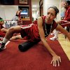 University of Oklahoma (OU) women\'s basketball player Nicole Griffin warms up before practice for first round of the NCAA Women\'s Basketball Championship Tournament at the Lloyd Noble Center on Saturday, March 17, 2012, in Norman, Okla. Photo by Steve Sisney, The Oklahoman