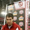 Photo - Oklahoma quarterback Sam Bradford answers questions during media day at University of Phoenix Stadium Monday, Dec. 31, 2007 in Glendale, Ariz.  Oklahoma and West Virginia will play one another in the Fiesta Bowl on Wednesday, Jan. 2, 2008.  (AP Photo/Ross D. Franklin) ORG XMIT: PNP105