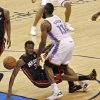 Oklahoma City\'s James Harden (13) and Miami\'s Norris Cole (30) collide during Game 2 of the NBA Finals between the Oklahoma City Thunder and the Miami Heat at Chesapeake Energy Arena in Oklahoma City, Thursday, June 14, 2012. Photo by Chris Landsberger, The Oklahoman