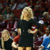 Oklahoma head coach Sherri Coale disagrees with a call as the University of Oklahoma Sooners (OU) play the Wichita State Shockers in NCAA, women\'s college basketball at The Lloyd Noble Center on Sunday, Nov. 10, 2013 in Norman, Okla. Photo by Steve Sisney, The Oklahoman