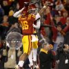 Iowa State\'s Jared Barnett (16) celebrates with Darius Reynolds (7) after a touchdown during a college football game between the Oklahoma State University Cowboys (OSU) and the Iowa State University Cyclones (ISU) at Jack Trice Stadium in Ames, Iowa, Friday, Nov. 18, 2011. Photo by Bryan Terry, The Oklahoman