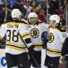 Photo - Boston Bruins defenseman Johnny Boychuk, center, celebrates his goal with forward Jordan Caron (38) and defenseman Kevan Miller, right, during the first period of an NHL hockey game against the Detroit Red Wings in Detroit, Mich., Wednesday, April 2, 2014. (AP Photo/Tony Ding)