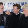 NBC chief foreign correspondent Richard Engel, center, NBC Turkey reporter Aziz Akyavas, left, and an unidentfied NBC crew member speak during a news conference in Reyhanli, Turkey, Tuesday, Dec. 18. 2012. More than a dozen pro-regime gunmen kidnapped and held NBC\'s chief foreign correspondent Richard Engel and several colleagues for five days inside Syria, threatening them with mock executions and blindfolding them before the team finally escaped unharmed during a firefight between their captors and rebels, Engel said Tuesday. (AP Photo/Anatolia) TURKEY OUT, ONLINE OUT
