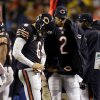 Photo -   Chicago Bears quarterback Jay Cutler (6) talks with backup quarterback Jason Campbell (2) on the sidelines after Cutler took a late hit from Houston Texans linebacker Tim Dobbins in the first half of an NFL football game in Chicago, Sunday, Nov. 11, 2012. The Texans won 13-6. Campbell replaced Cutler, who did not return in the second half after suffering a concussion. (AP Photo/Nam Y. Huh)