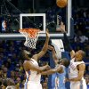 Oklahoma City\'s Kendrick Perkins, James Harden and Russell Westbrook combine to stop a shot by Denver\'s Raymond Felton during the first round NBA Playoff basketball game between the Thunder and the Nuggets at OKC Arena in downtown Oklahoma City on Wednesday, April 20, 2011. The Thunder beat the Nuggets 106-89 and lead the series 2-0. Photo by John Clanton, The Oklahoman