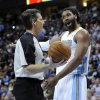 Denver Nuggets center Nene (31) from Brazil argues with a referee during the first half in game 4 of a first-round NBA basketball playoff series against the Oklahoma City Thunder Monday, April 25, 2011, in Denver. (AP Photo/Jack Dempsey)