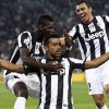Photo -   Juventus striker Fabio Quagliarella, center, celebrates with his teammates Paul Pogba, left, and Lucio after scoring, during a Serie A soccer match between Chievo Verona and Juventus, in Turin, Italy, Saturday, Sept. 22, 2012. (AP Photo/Jonathan Moscrop, Lapresse)