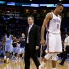 Oklahoma City\'s Thabo Sefolosha (2) and coach Scott Brooks react during an NBA basketball game between the Oklahoma City Thunder and the Denver Nuggets at Chesapeake Energy Arena in Oklahoma City, Tuesday, March 19, 2013. Denver won 114-104. Photo by Bryan Terry, The Oklahoman