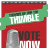 "This image provided by Hasbro shows a poster encouraging people to vote for the thimble gamepiece. Makers of the classic game Monopoly want players to ""take a chance"" on a new token. In an effort to jazz up the board game, which debuted around 1935, Hasbro announced Wednesday, Jan. 9, 2013, it is holding a Facebook contest to eliminate one of the eight classic tokens and introduce a new one that will be decided on by a Facebook vote. (AP Photo/Hasbro)"