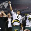 Oregon head coach Chip Kelly, left, Marcus Mariota, middle, and Michael Clay celebrate a win over Kansas State after the Fiesta Bowl NCAA college football game Thursday, Jan. 3, 2013, in Glendale, Ariz. Oregon defeated Kansas State 35-17.(AP Photo/Ross D. Franklin)