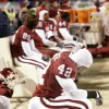 Kansas City, Mo. Saturday,12/06/2003 . BIG 12 CHAMPIONSHIP UNIVERSITY OF OKLAHOMA (OU) VS KANSAS STATE (KSU) COLLEGE FOOTBALL AT ARROWHEAD STADIUM. Sooner freshman Rufus Alexander waits out the clock in the final seconds of their loss to the Wildcats. (Staff photo by Steve Gooch)