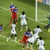 United States\' John Brooks, second from left, scores his side\'s second goal during the group G World Cup soccer match between Ghana and the United States at the Arena das Dunas in Natal, Brazil, Monday, June 16, 2014. (AP Photo/Hassan Ammar)