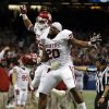 Oklahoma\'s Jordan Evans (26) and Frank Shannon (20) celebrate during the NCAA football BCS Sugar Bowl game between the University of Oklahoma Sooners (OU) and the University of Alabama Crimson Tide (UA) at the Superdome in New Orleans, La., Thursday, Jan. 2, 2014. .Photo by Sarah Phipps, The Oklahoman