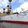 Photo - This undated photo provided by the Independence Seaport Museum from August 2012, shows the USS Olympia moored beside the submarine USS Becuna in Philadelphia. The USS Olympia, a one-of-a-kind steel cruiser from the Spanish-American War, has undergone extensive repairs that make it more stable than it has been in years as the field for prospective caretaker has narrowed to groups in San Francisco and South Carolina. (AP Photo/Hope Koseff Corse-Independence Seaport Museum)