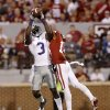 Kansas State\'s Chris Harper (3) catches the ball beside Oklahoma\'s Aaron Colvin (14) during a college football game between the University of Oklahoma Sooners (OU) and the Kansas State University Wildcats (KSU) at Gaylord Family-Oklahoma Memorial Stadium, Saturday, September 22, 2012. Oklahoma lost 24-19. Photo by Bryan Terry, The Oklahoman