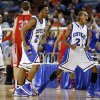 Coyle\'s Jakobi Brown, left, and Tony Aska celebrate during a Class B Boys game of the state high school basketball tournament between Forgan and Coyle at the State Fair Arena at State Fair Park in Oklahoma City, Thursday, Feb. 28, 2013. Photo by Bryan Terry, The Oklahoman