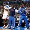 Serge Ibaka, Nate Robinson and Royal Ivey are part of the Thunder\'s supportive bench crew. Photo by Bryan Terry, The Oklahoman