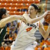 Oklahoma State\'s Liz Donohoe (4) tries to pass the around Cal Poly\'s Taryn Garza (15) during the women\'s college basketball game between Oklahoma State and Cal Poly at Gallagher-Iba Arena in Stillwater, Okla., Friday, Nov. 9, 2012. Photo by Sarah Phipps, The Oklahoman