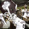 Photo -   Mississippi State wide receiver Chad Bumphis (1) reacts following a 30-24 win over Troy in an NCAA college football game in Troy, Ala., Saturday, Sept. 15, 2012. (AP Photo/Dave Martin)