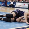 Charlotte Bobcats center Byron Mullens reacts injuring his leg while contesting a shot against the Denver Nuggets late in the fourth quarter of the Nuggets\' 110-88 victory in an NBA basketball game in Denver, Saturday, Dec. 22, 2012. Mullens was helped off the court by teammates. (AP Photo/David Zalubowski)