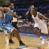 Oklahoma City Thunder\'s Reggie Jackson (15) drives past New Orleans Hornets\' Darius Miller (2) during the NBA basketball game between the Oklahoma City Thunder and the New Orleans Hornets at the Chesapeake Energy Arena on Wednesday, Feb. 27, 2013, in Oklahoma City, Okla. Photo by Chris Landsberger, The Oklahoman