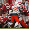 The Oklahoma defense stops Oklahoma State\'s Julius Crosslin (32) on a goal line stance during the first half of the college football game between the University of Oklahoma Sooners (OU) and the Oklahoma State University Cowboys (OSU) at the Gaylord Family-Memorial Stadium on Saturday, Nov. 24, 2007, in Norman, Okla. Photo By CHRIS LANDSBERGER, The Oklahoman