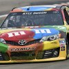 Photo - The grille of Kyle Busch's (18) race car is full of grass after he went off course during a practice session for Sunday's NASCAR Sprint Cup Series auto race at Watkins Glen International, Friday, Aug. 8, 2014, in Watkins Glen N.Y.   (AP Photo/Derik Hamilton)
