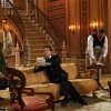 This photo provided by NBC shows, from left, Kristine Nielson as Frau Schmidt, Stephen Moyer as Captain Von Trapp, and Sean Cullen as Franz, in