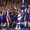 The crowd reacts after Oklahoma City\'s Kevin Durant (35) made a basket in the final seconds of Game 2 in the second round of the NBA playoffs between the Oklahoma City Thunder and L.A. Lakers at Chesapeake Energy Arena in Oklahoma City, Wednesday, May 16, 2012. Oklahoma City won 77-75. Photo by Bryan Terry, The Oklahoman