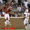 Oklahoma\'s Tony Jefferson (1) intercepts a pass beside Ball State\'s Willie Snead (3) during the college football game between the University of Oklahoma Sooners (OU) and the Ball State Cardinals at Gaylord Family-Memorial Stadium on Saturday, Oct. 01, 2011, in Norman, Okla. Photo by Bryan Terry, The Oklahoman