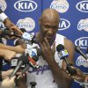 Los Angeles Clippers forward Lamar Odom takes questions from the media at the Los Angeles Clippers training center in Los Angeles Friday, Sept. 28, 2012. (AP Photo/Damian Dovarganes)