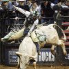 Cord McCoy of Tupelo, Okla., rides Rebel Chicken to a score of 83.75 during the first round of the PBR\'s Copenhagen Bull Riding Challenger Tour Championship at the Ford Center in Oklahoma City, February 15, 2008. BY NATE BILLINGS, THE OKLAHOMAN