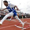 Durant\'s Gabriel Louis hits a hurdle while running in the 5A boys 110m hurdles during the class 5A and 6A track state championships at Yukon High School on on Friday, May 10, 2013, in Yukon, Okla.Photo by Chris Landsberger, The Oklahoman