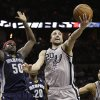 San Antonio Spurs\' Manu Ginobili (20), of Argentina, drives to the basket past Memphis Grizzlies defender Zach Randolph (50) during the fourth quarter of an NBA basketball game, Saturday, Dec. 1, 2012, in San Antonio. San Antonio won 99-95. (AP Photo/Eric Gay) ORG XMIT: TXEG114
