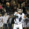 Jenks quarterback Hunter Collins throws for a completion during the Edmond Santa Fe - Jenks game at UCO\'s Wantland Stadium in Edmond, Friday, November 18, 2011. PHOTO BY HUGH SCOTT, FOR THE OKLAHOMAN