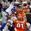 Dallas Cowboys running back DeMarco Murray (29) dives over the goal line for a 1-yard touchdown run in the first half of an NFL football game against the Cincinnati Bengals, Sunday, Dec. 9, 2012, in Cincinnati. (AP Photo/Tom Uhlman)